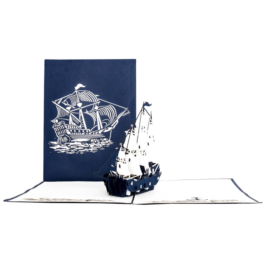 """Pop Up Karte """"Segelboot"""" - Einladung zum Segeln, Reisegutschein"""