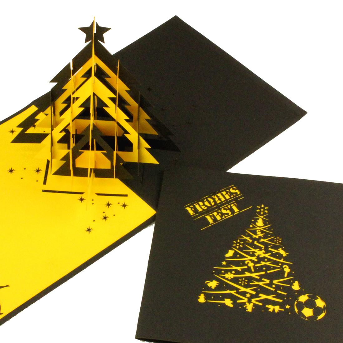 """Pop-Up Karte """"Fussball - Christbaum Schwarz-Gelb"""" - Weihnachtskarte für z.B. Dortmund-Fans"""