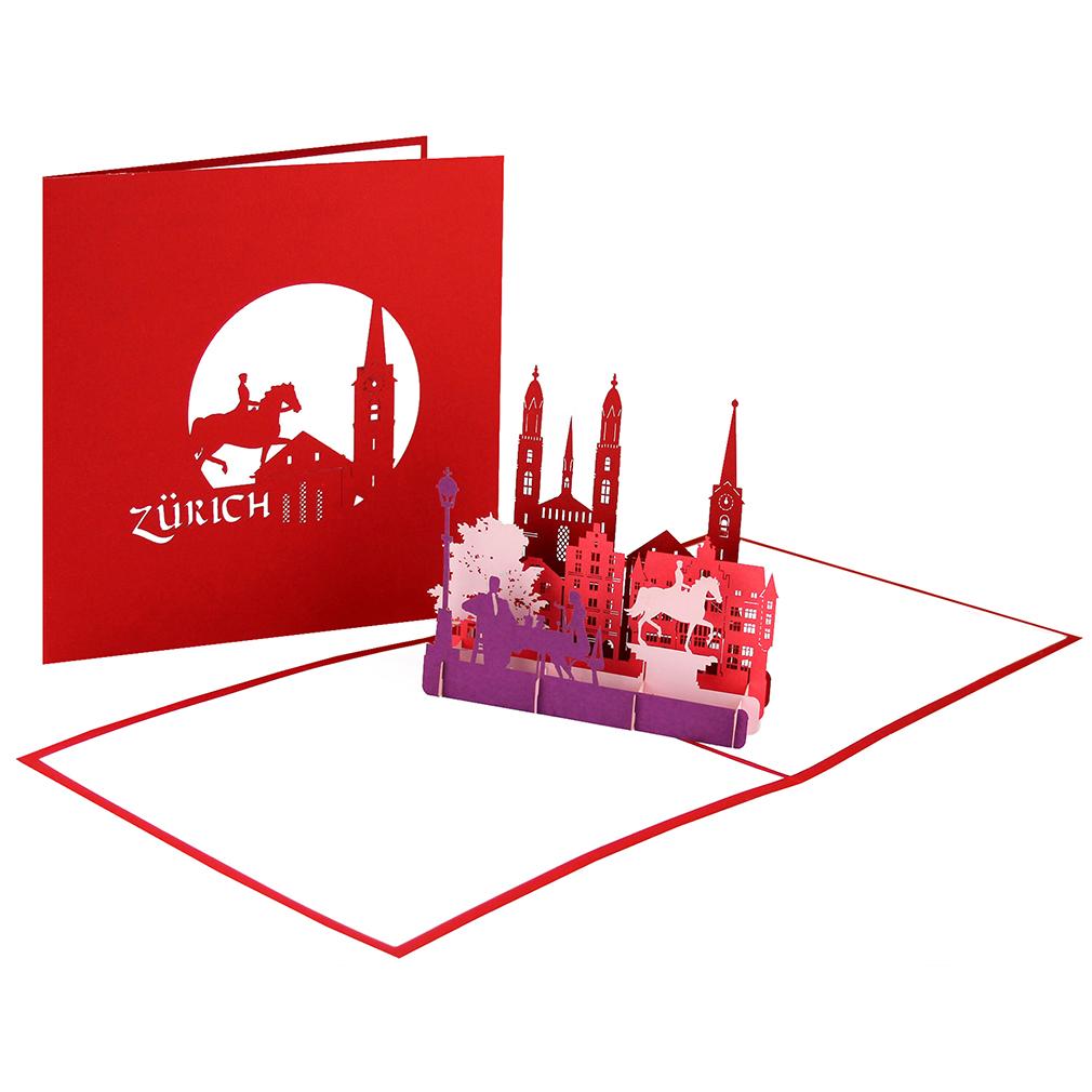 """Pop Up Karte """"Zürich"""" - Grußkarte, Gutschein für Schweizreise, Glückwunschkarte"""