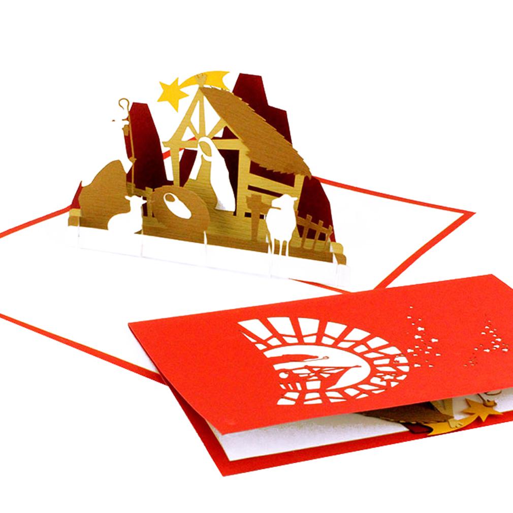 """Pop Up Karte """"Krippe mit Stern"""" - moderne Weihnachtskarte mit Umschlag"""