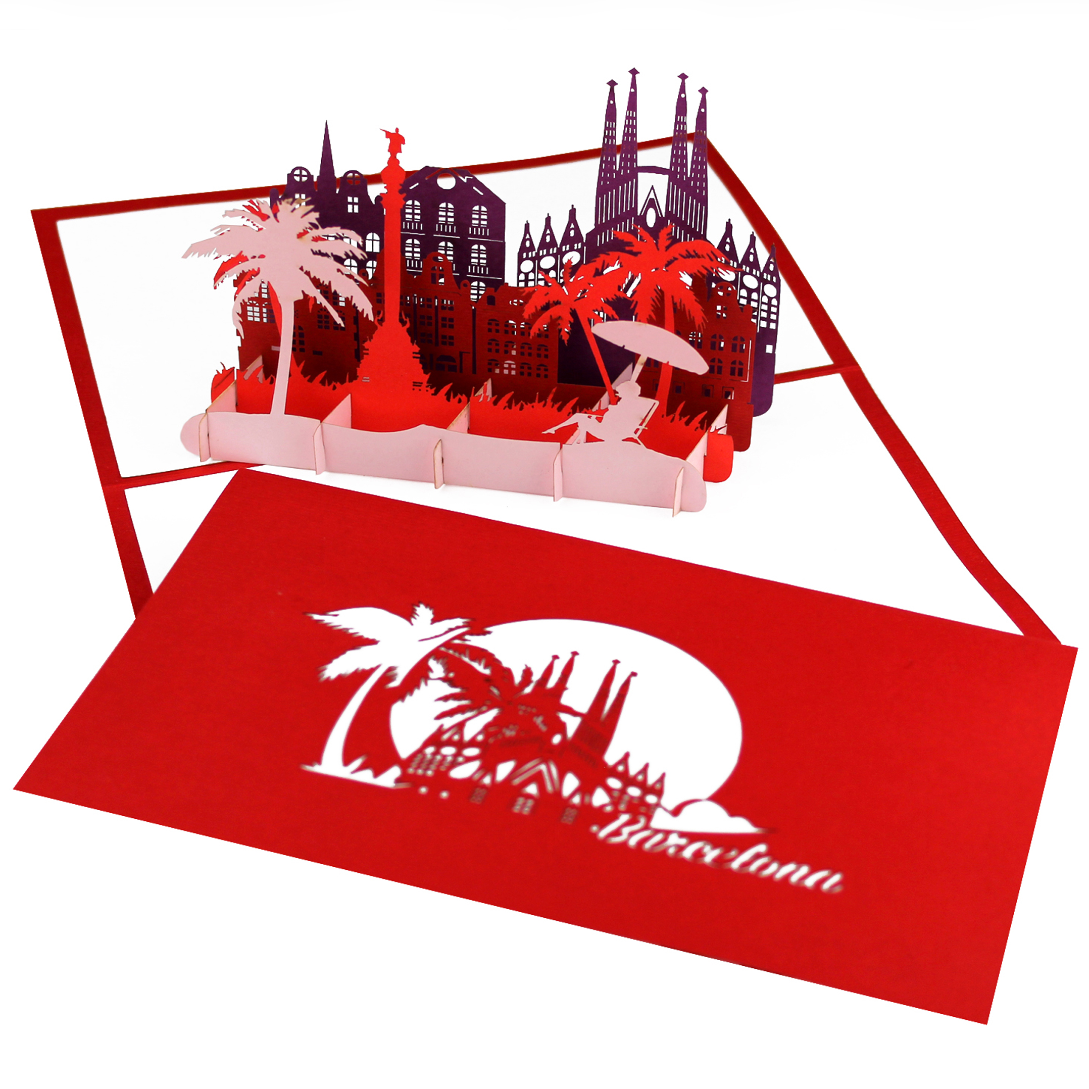 "3D Karte ""Barcelona"" - Grußkarte, Glückwunschkarte, Spanien Souvenir"