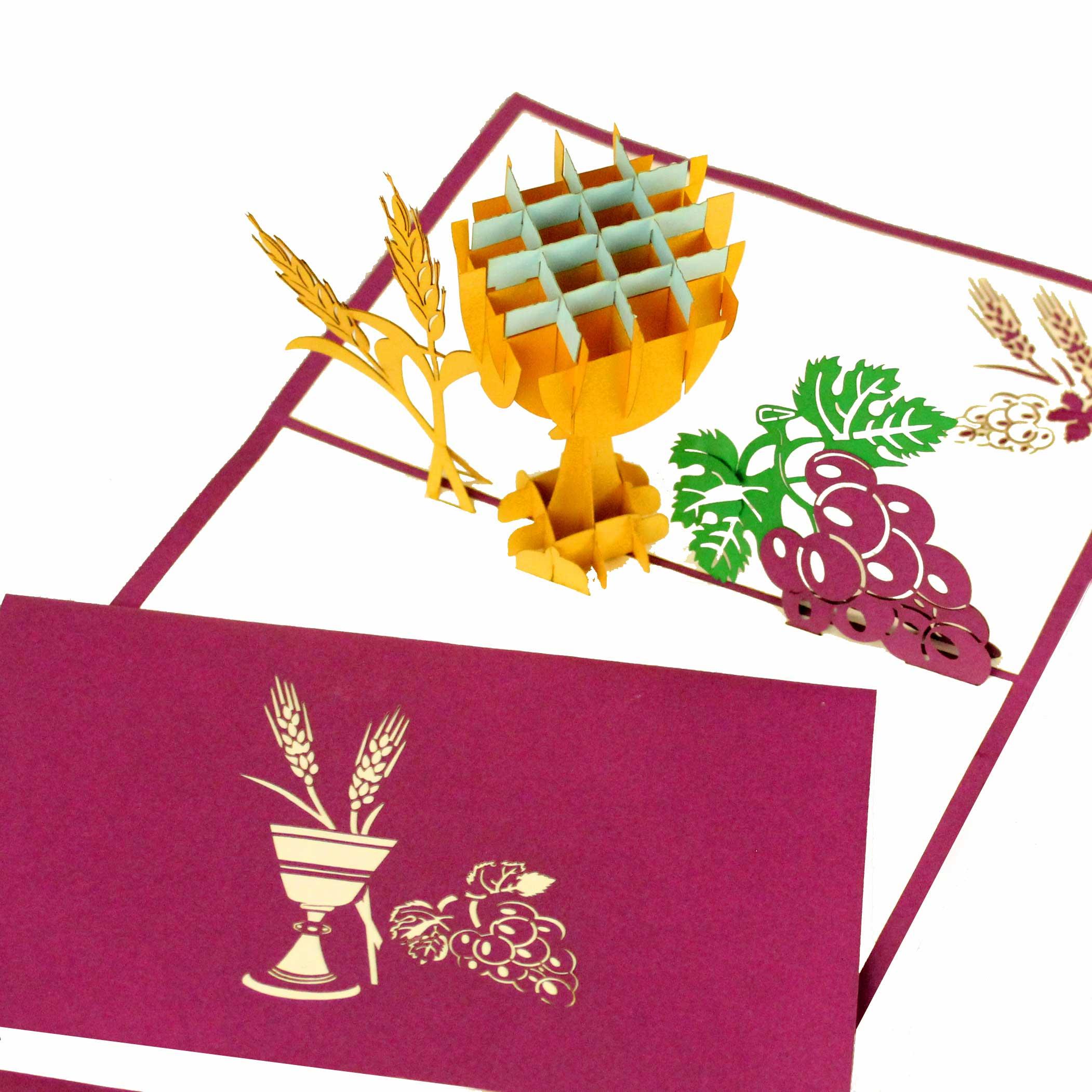 """Pop Up """"Kelch & Weinrebe"""" - Glückwunschkarte, Geldgeschenk zu Konfirmation und Kommunion"""