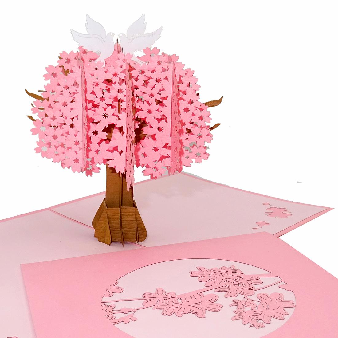 """Pop Up Karte """"Kirschbaum"""" - Hochzeitskarte, Valentinskarte, Karte zum Jahrestag"""