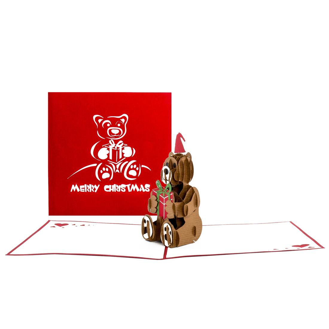 """Pop Up Weihnachtskarte """"Teddybär"""" - niedliche Weihnachtskarte mit Umschlag für Kinder"""