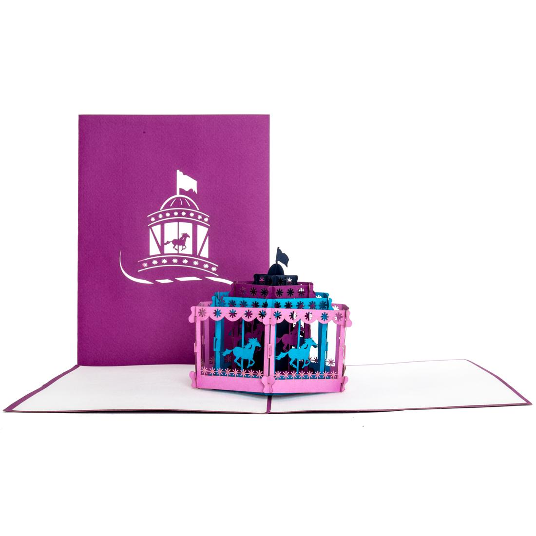 """Pop Up Karte """"Karussell"""" - Einladung zum Volksfest, Geburtstagskarte"""