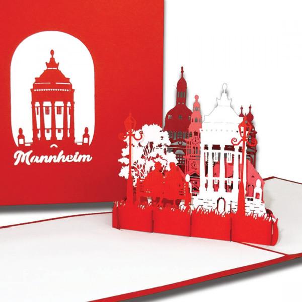 """3D Karte """"Mannheim – Panorama mit Wasserturm"""", Pop-Up Grußkarte als Souvenir, Reisegutschein, Gesche"""