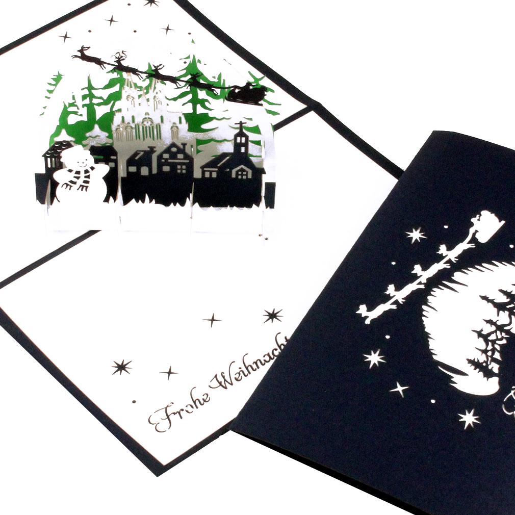 """Pop Up Karte """"Winterlandschaft mit Schneemann"""" - Weihnachskarte mit Umschlag"""