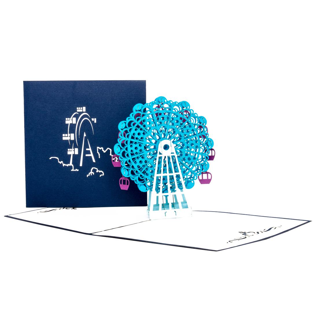 """Pop Up Karte """"Riesenrad"""" - Geburtstagskarte mit Umschlag, Geldgeschenk für Kirmes"""