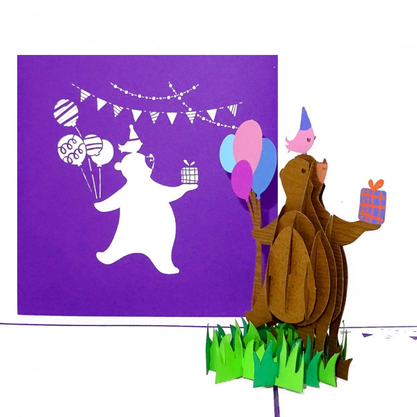 """Pop Up Karte """"Happy Bear"""" - Geburtstagskarte, Glückwunschkarte mit Umschlag"""