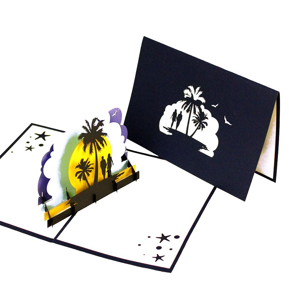 """Pop Up Karte """"Honeymoon"""" - Geldgeschenk (für Hochzeitsreise, Flitterwochen...), Grußkarte"""