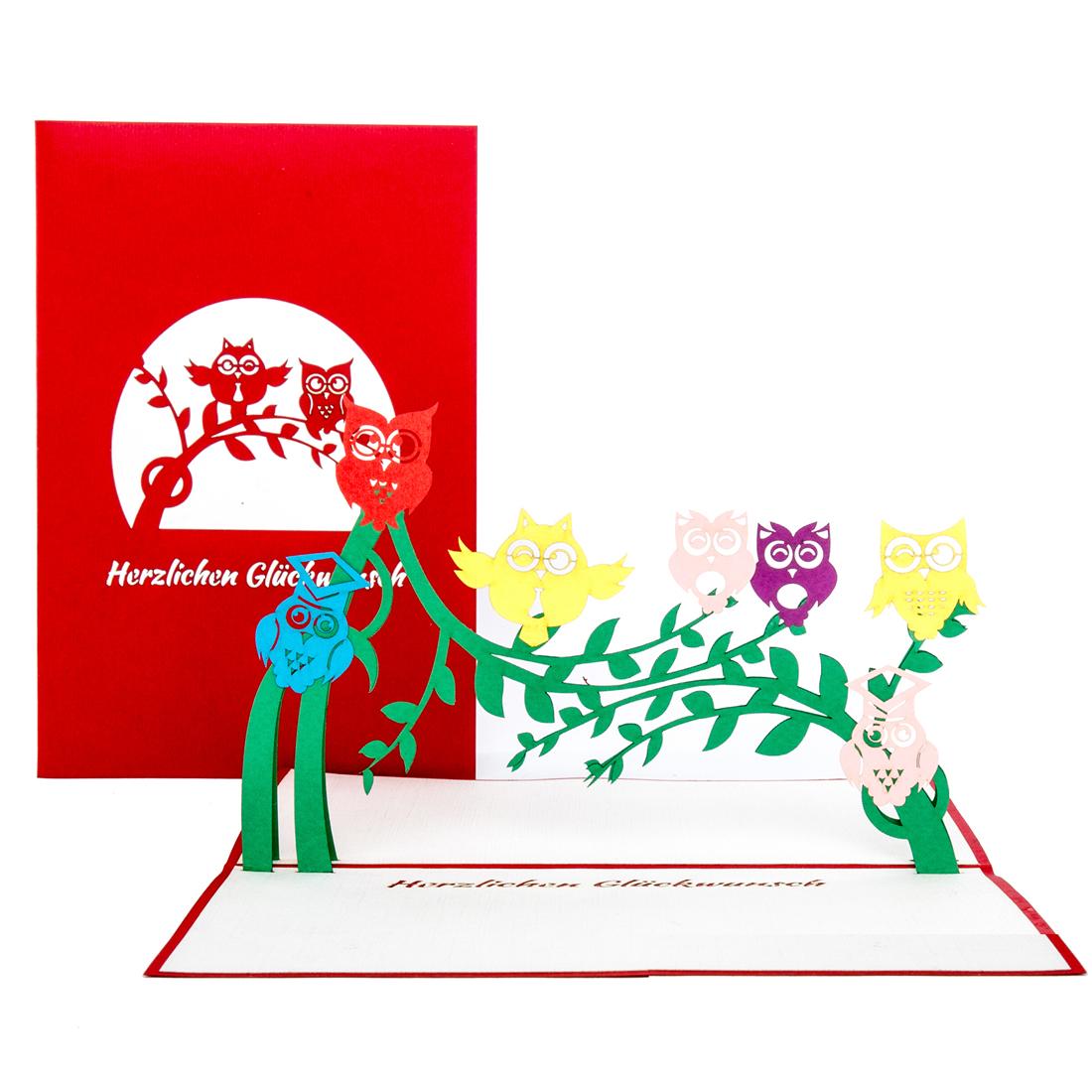 "3D Geburtstagskarte ""Eulen"" - Glückwunschkarte, Grußkarte"