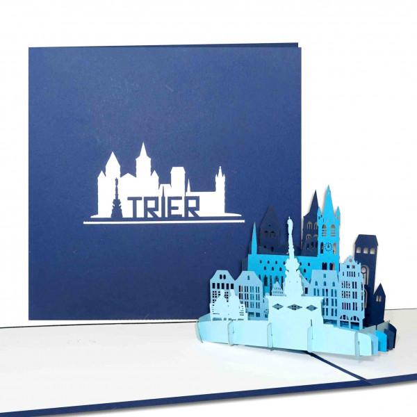 "Pop-Up Karte ""Trier - Panorama mit Dom & Porta Nigra"" - 3D Grußkarte als z.B. Souvenir"