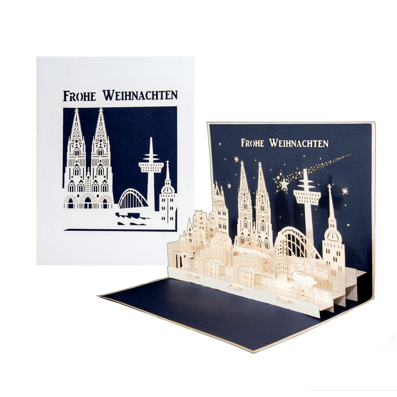 """Pop Up Karte """"Köln Panorama - Frohe Weihnachten"""" - Gutschein, Weihnachtskarte"""