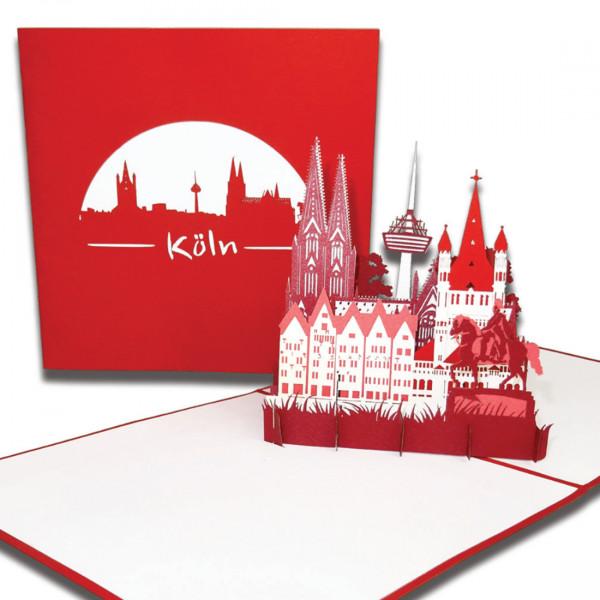 "Pop-Up Karte ""Köln – Skyline mit Kölner Dom"" 3D Karte mit Umschlag oder als Grußkarte"