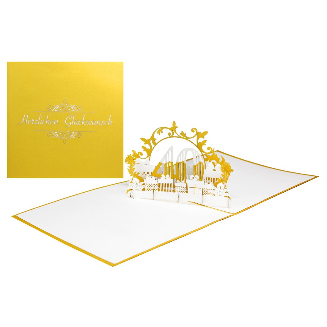 """Pop-Up Karte """"40 Jahre"""" - Geburtstagskarte mit Zahl, Glückwunschkarte zum Jubiläum"""