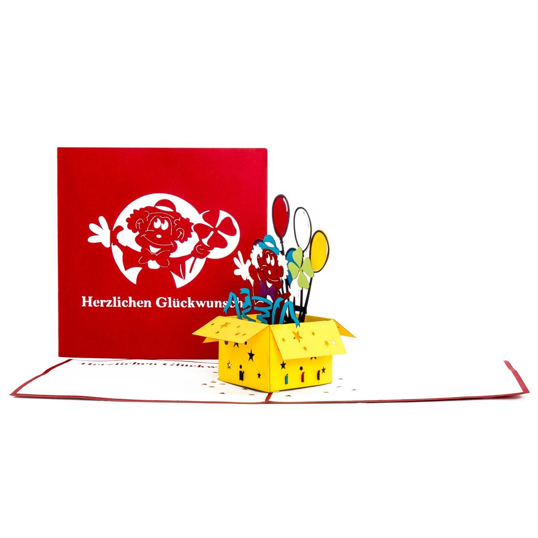 "3D Geburtstagskarte ""Clown"" - Glückwunschkarte zum Geburtstag"