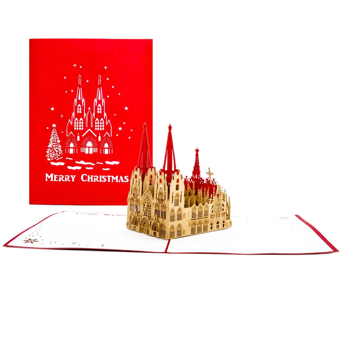 """Pop Up Karte """"Kölner Dom - Merry Christmas"""" - Weihnachtskarte, Gutscheinkarte"""