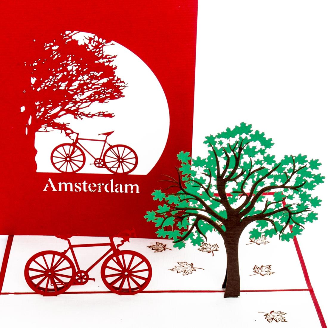 """Pop Up Karte """"Amsterdam mit dem Fahrrad"""" - Gutschein für Hollandreise"""