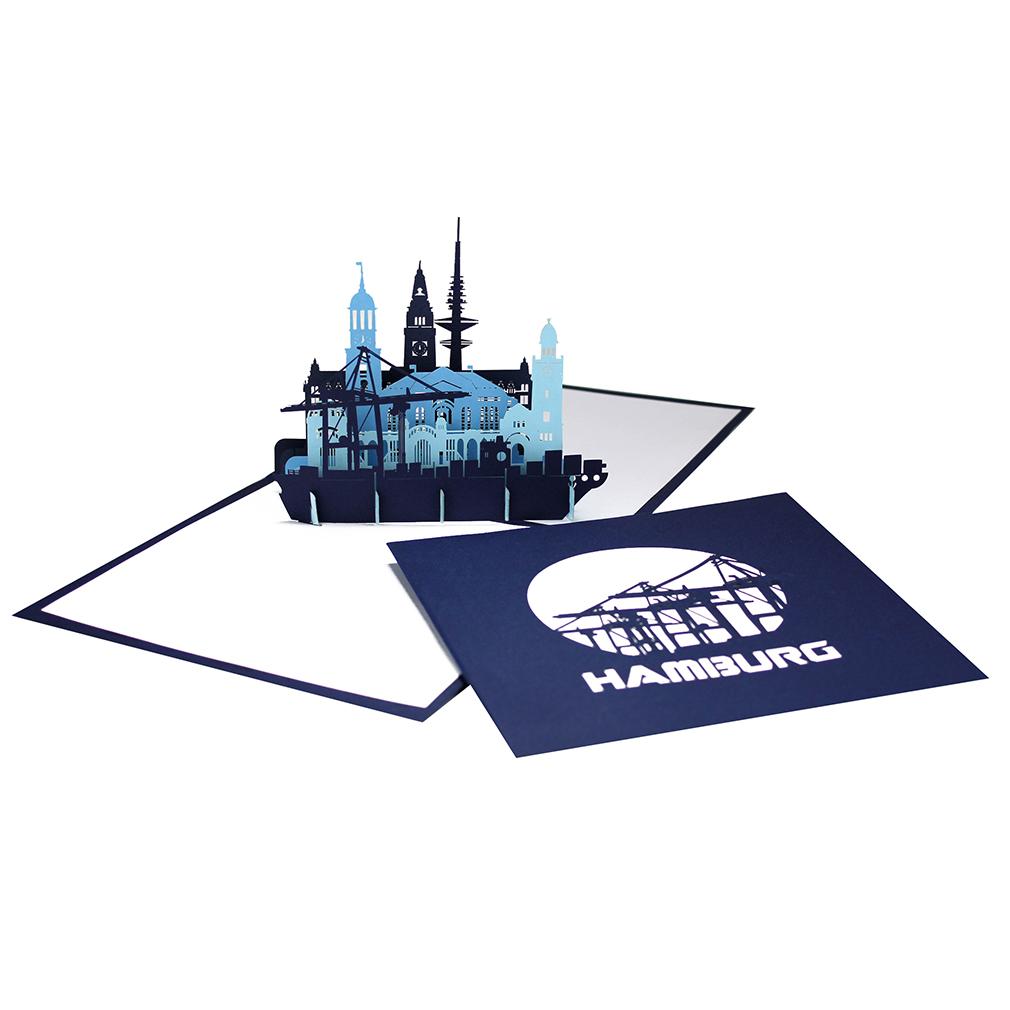 """Pop-Up Karte """"Hamburg"""" - Grußkarte mit Umschlag, Reisegutschein, Einladungskarte"""