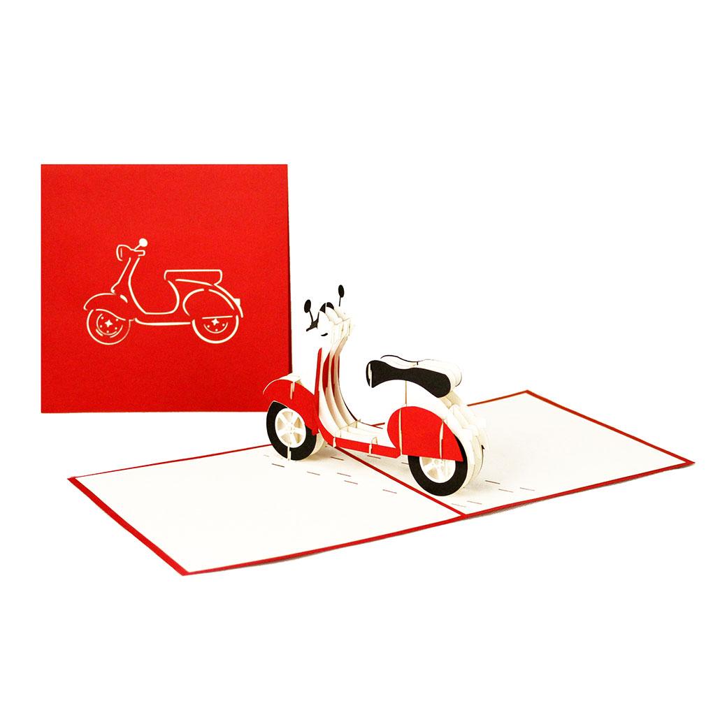 """Pop Up Karte """"Vespa"""" - Geldgeschenk für Motorroller, Geburtstagskarte"""