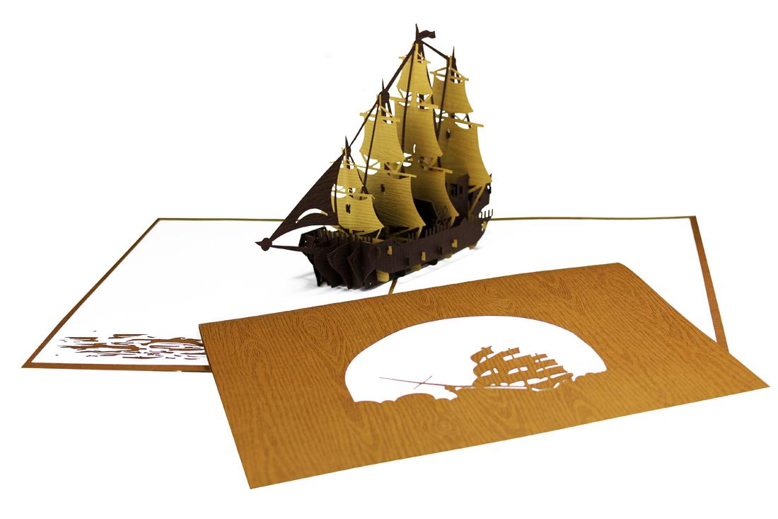 """Pop Up Karte """"Segelschiff - Viermaster"""" - Geburtstagskarte, Segelgutschein"""