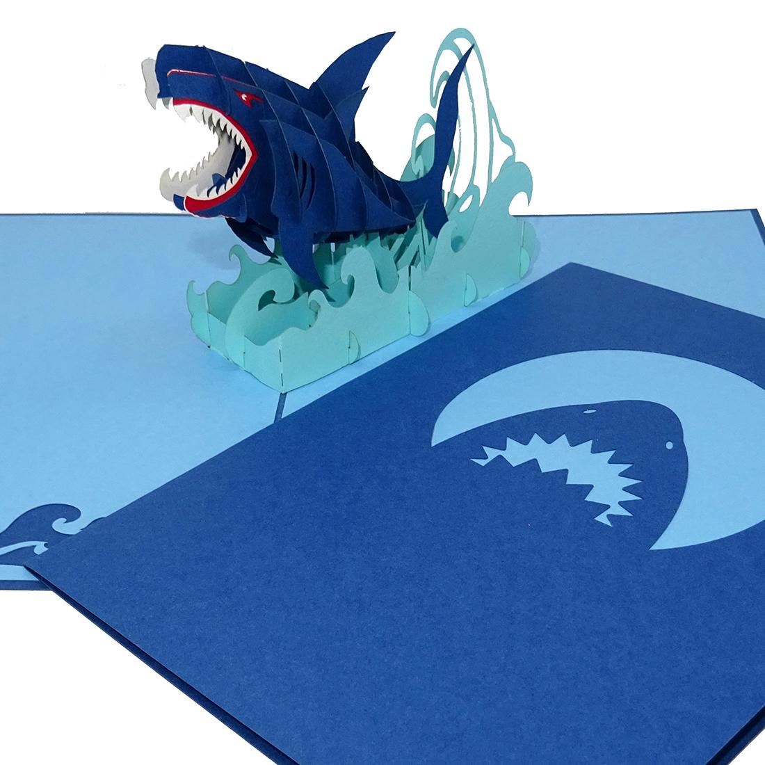 """Pop Up Karte """"Hai - Shark Attack"""" - 3D Geburtstagskarte mit Umschlag"""