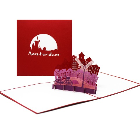 """Pop Up Karte """"Panorama"""" Amsterdam - Gutschein, Einladung, Grusskarte"""