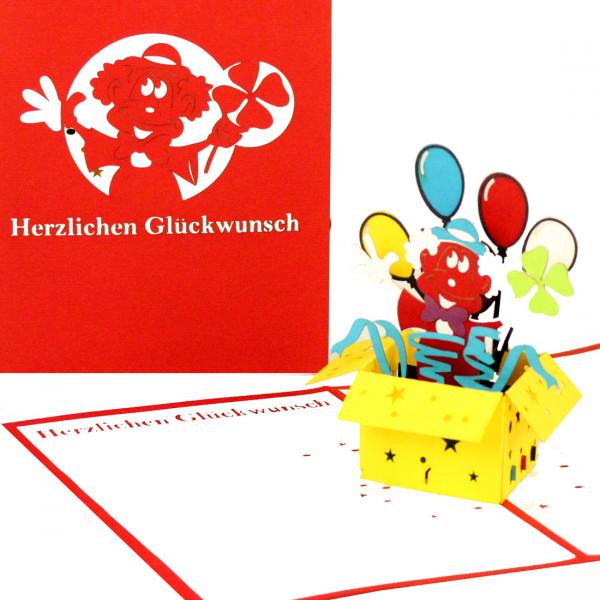 """3D Geburtstagskarte """"Clown mit Luftballons"""" - lustige Pop-Up Karte als Geschenk"""