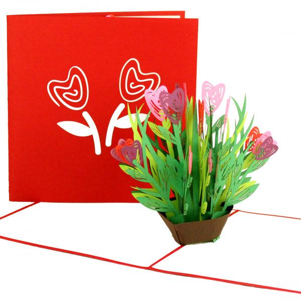 """Pop Up Karte """"Bunte Blumen mit Herzblüten"""" - Valentinskarte, Muttertagskarte, Geburtstagskarte"""