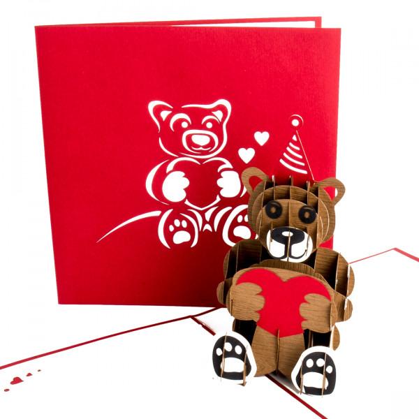 """Pop Up Karte """"Teddy mit Herz"""" - Valentinskarte, Liebesgruß zum Hochzeitstag"""