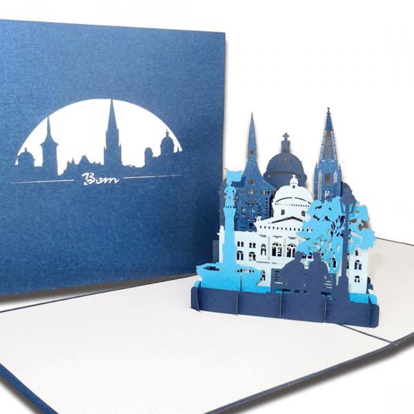 """3D Karte """"Bern – Panorama mit Berner Münster"""", Pop-Up Grußkarte als Souvenir, Geschenkgutschein für"""