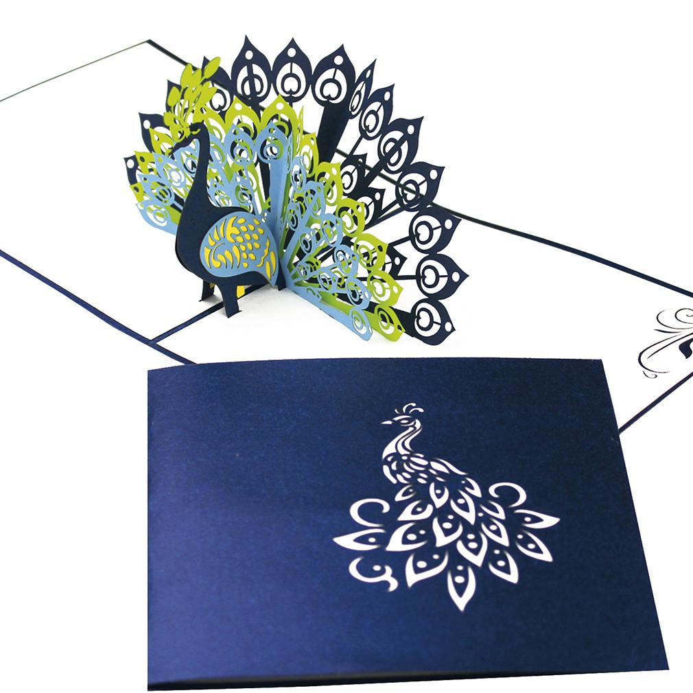 """Pop Up Karte """"Pfau"""" - Gutschein für Reise nach Sri Lanka oder Indien, Geldgeschenk"""