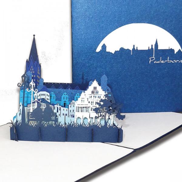 """3D Karte """"Paderborn – Panorama mit Paderborner Dom"""", Pop-Up Grußkarte als Souvenir, Reisegutschein o"""