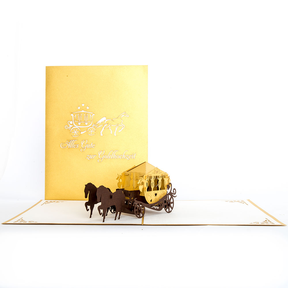"""Pop Up Karte """"Hochzeitskutsche - Alles Gute zur Goldhochzeit"""" - Hochzeitskarte"""