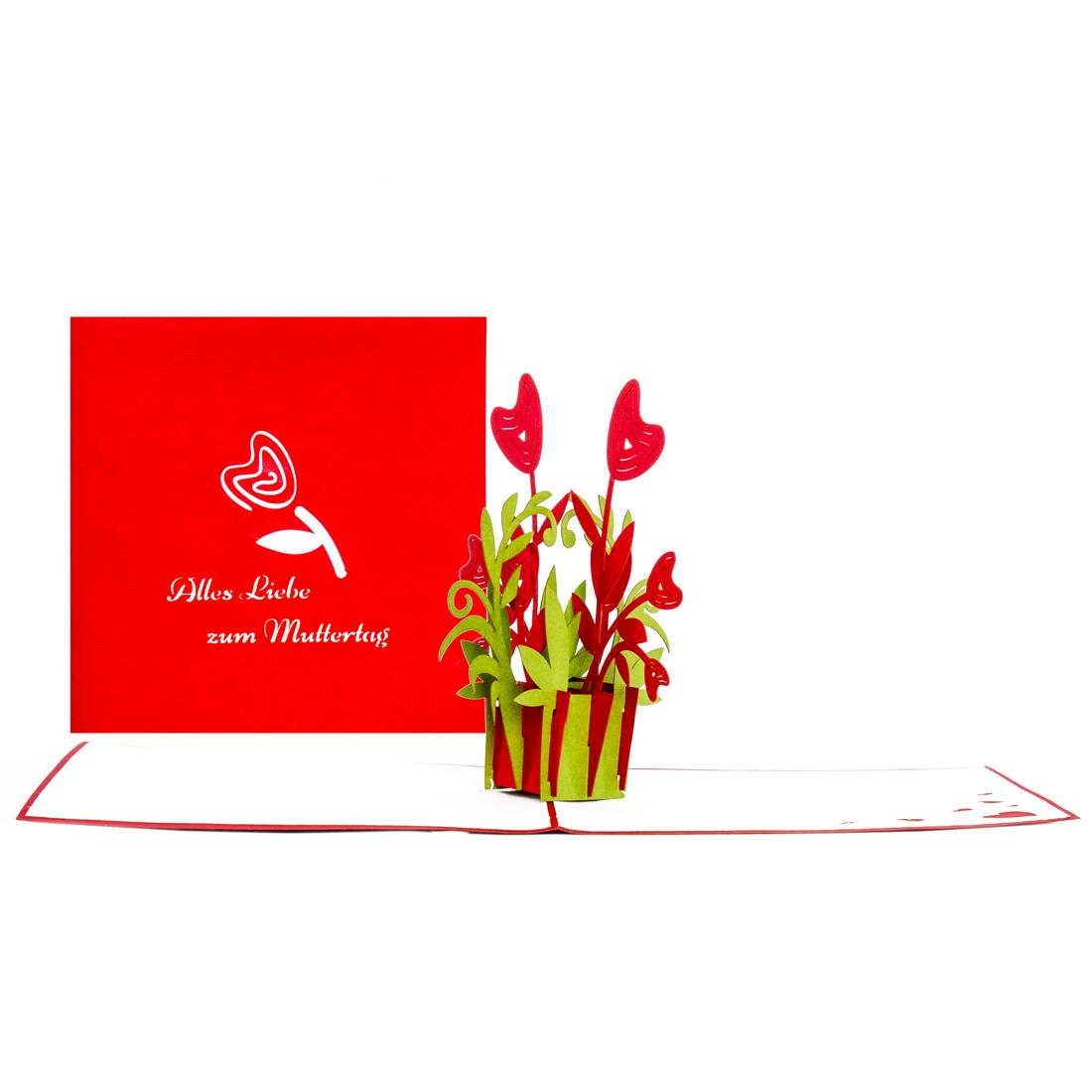 "Muttertagskarte ""Blumenherzen"" - Pop Up Karte zum Muttertag"