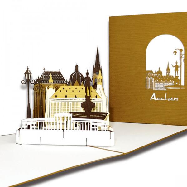 "Pop-Up Karte "" Aachen – Panorama mit Aachener Dom"", 3D Grußkarte als Souvenir"
