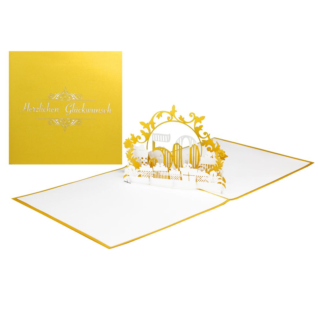 """Pop-Up Karte """"50 Jahre"""" - Geburtstagskarte mit Zahl, Glückwunschkarte zur Goldhochzeit"""