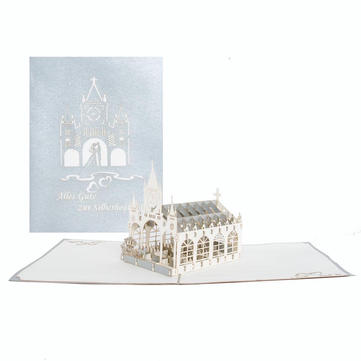 """Pop Up Karte """"Silberne Hochzeit - Kirche"""" - Glückwunsch zur Silberhochzeit"""