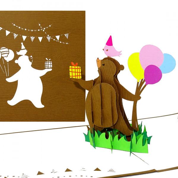 """Pop Up Karte """"Happy Bear"""" - Glückwunschkarte mit Umschlag, Geburtstagskarte"""
