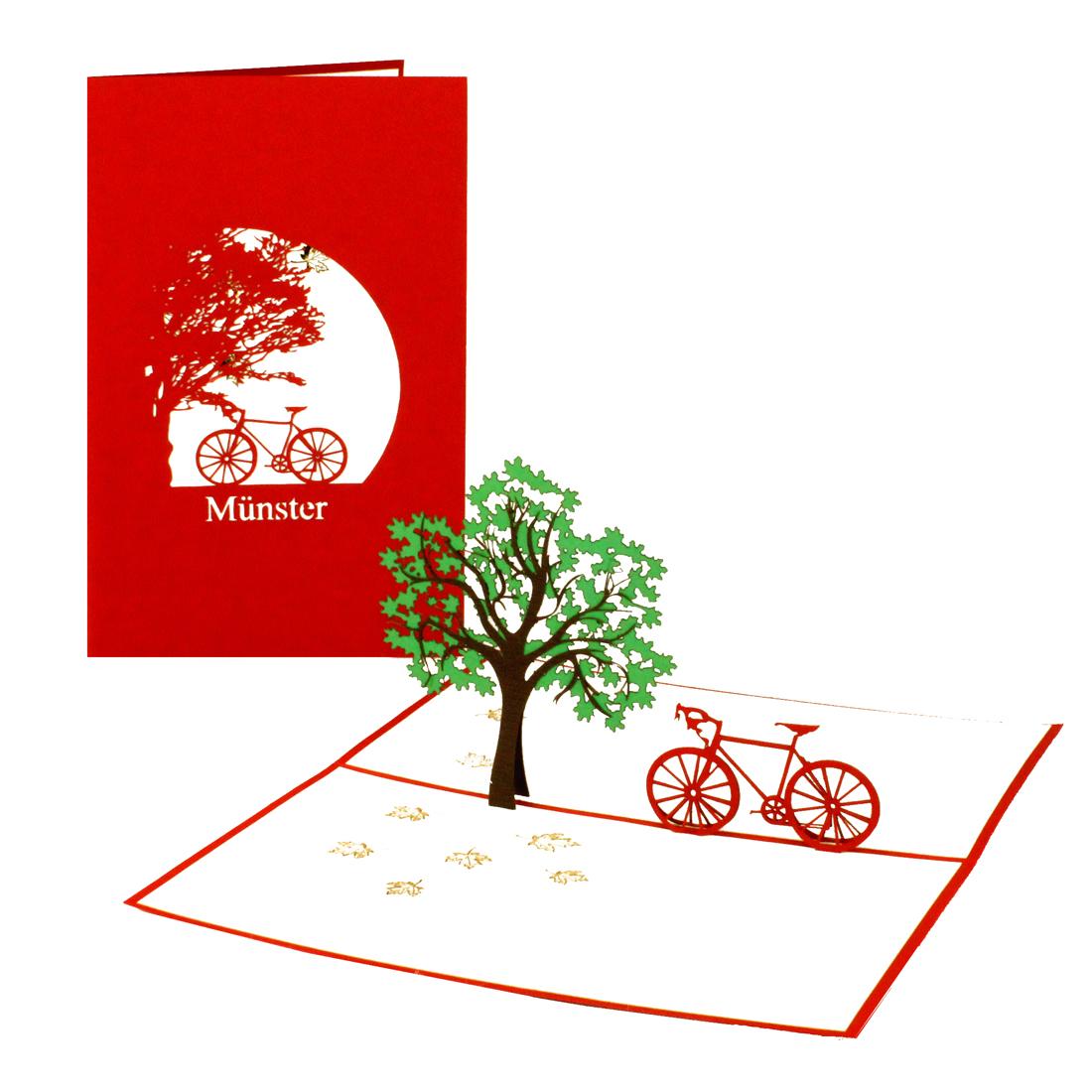 """Pop Up Karte """"Münster - Fahrrad"""" - Gutschein oder Einladung für einen Ausflug oder Radtour"""