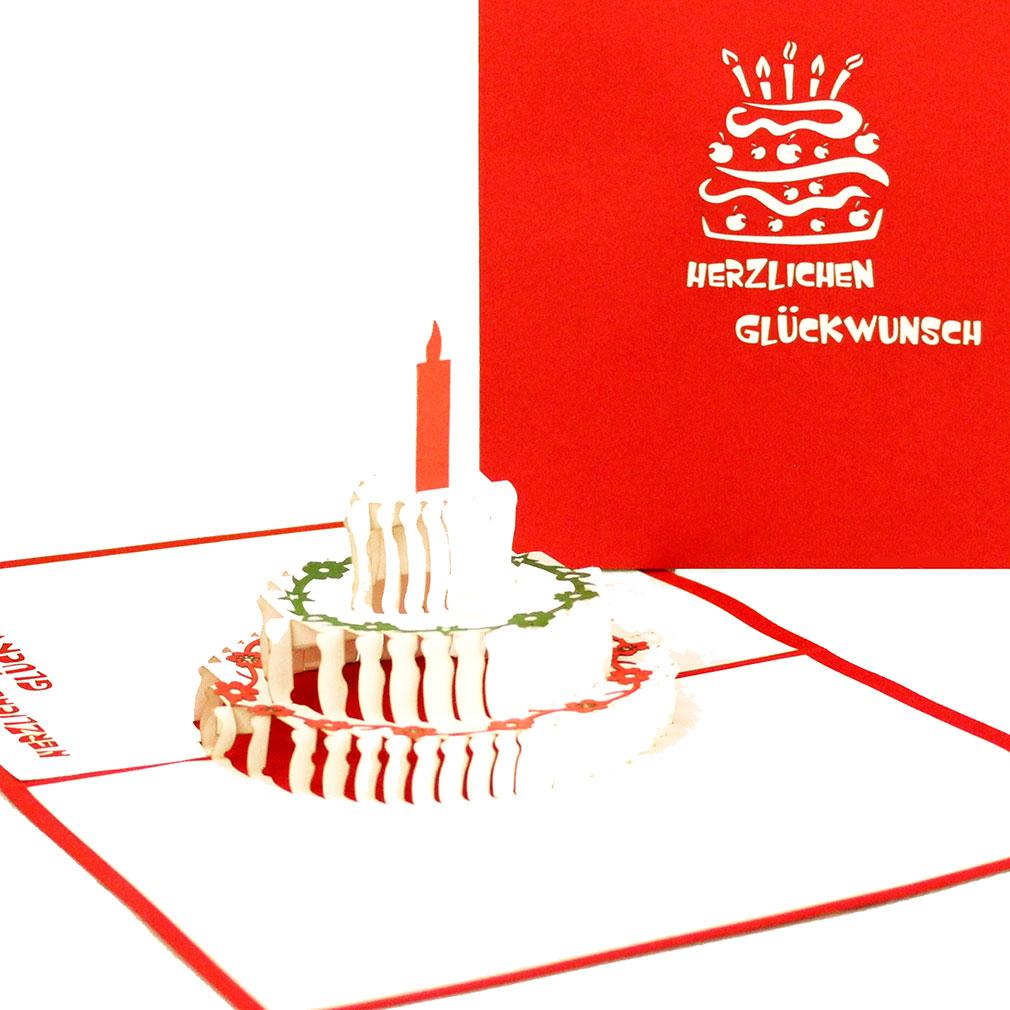 """Pop Up Karte """"Geburtstagstorte - Herzlichen Glückwunsch"""" - Geburtstagskarte mit Umschlag"""