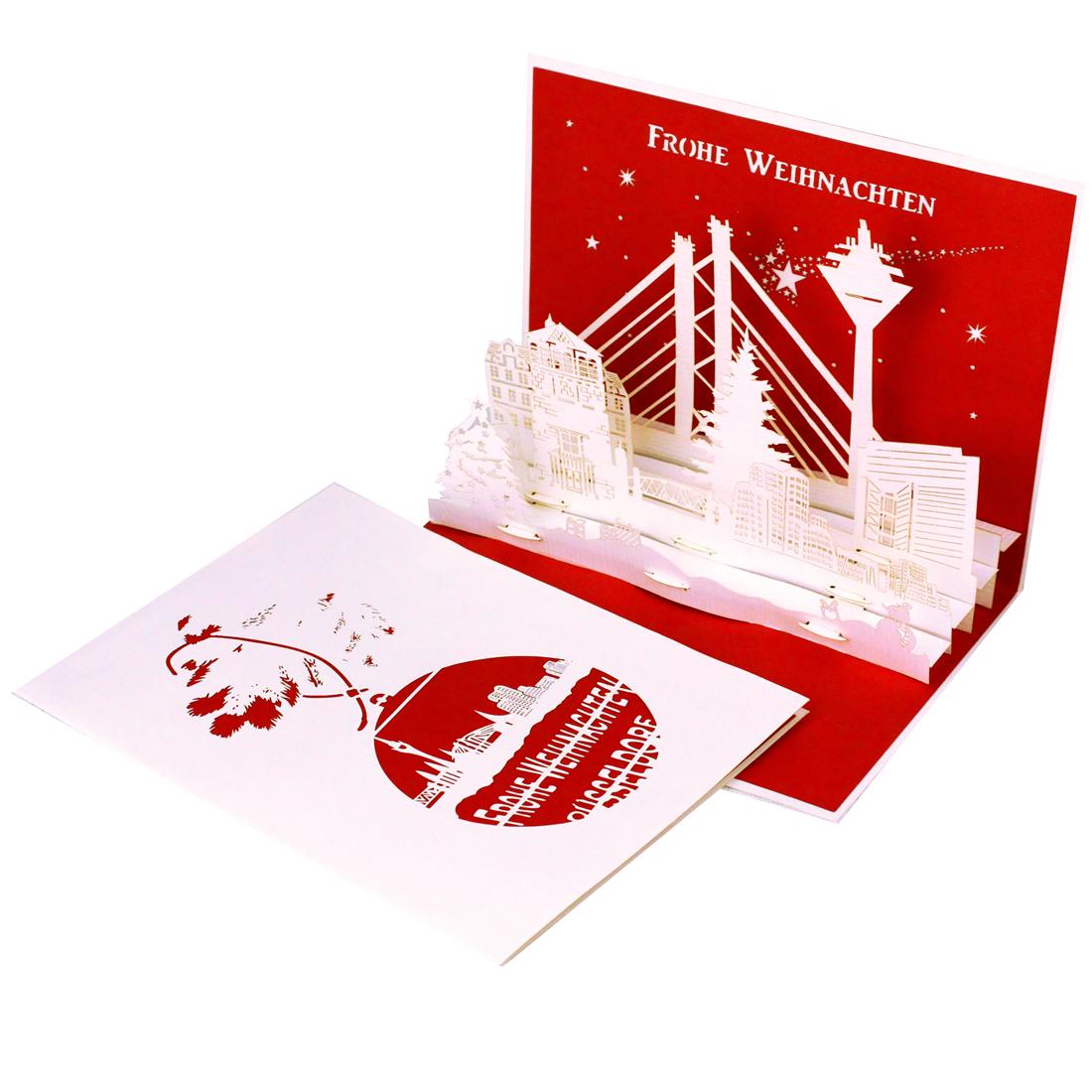 """Pop Up Karte """"Düsseldorf Weihnachtspanorama"""" - Weihnachtskarte mit Umschlag"""