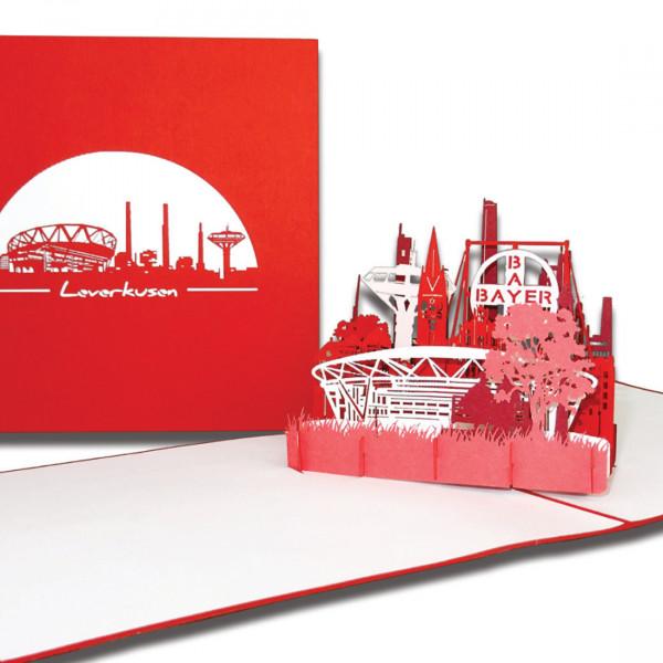 """3D Karte """"Leverkusen – Panorama"""", Pop-Up Grußkarte als Geburtstagskarte oder als Einladung"""
