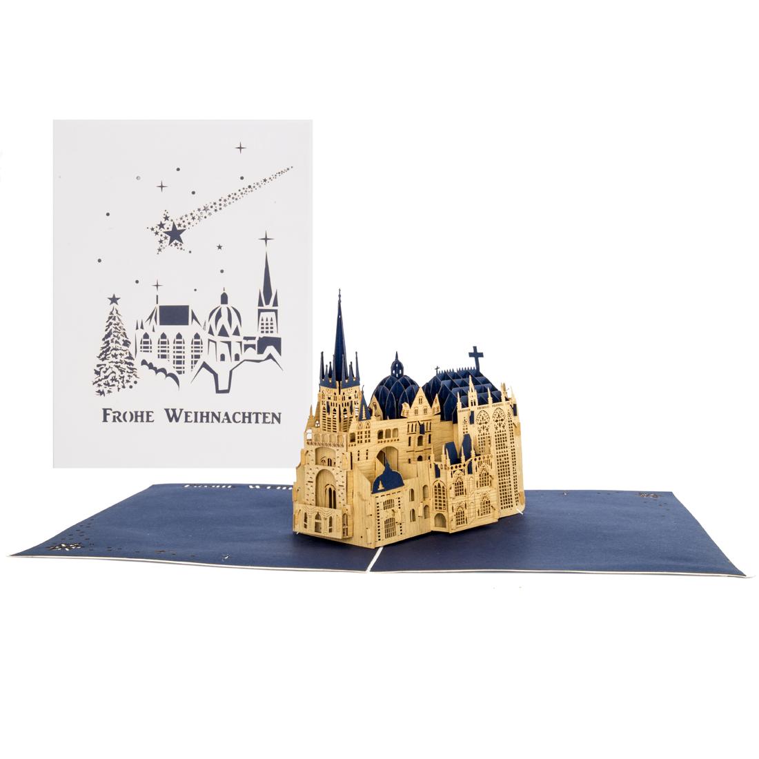 """Pop Up Weihnachtskarte """"Frohe Weihnachten"""" mit 3D Modell Aachener Dom"""