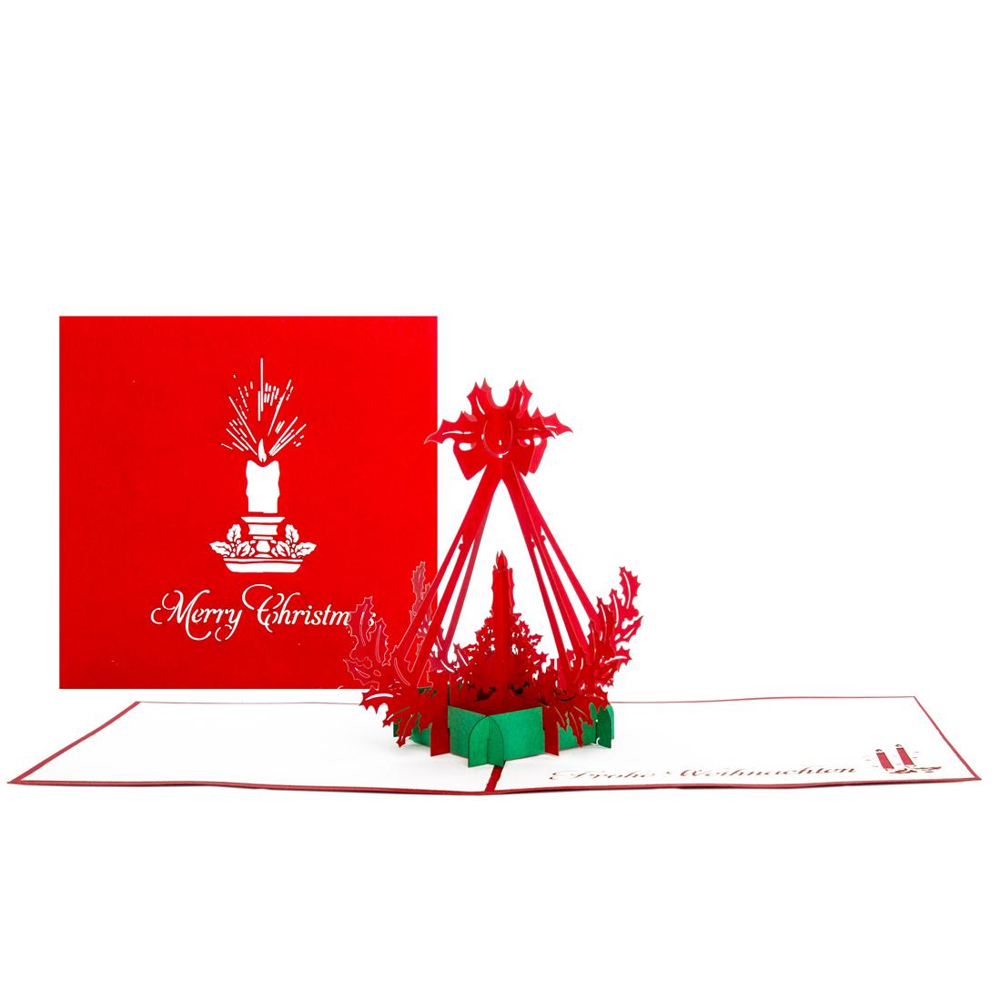 """3D Weihnachtskarte """"Adventskerze"""" - Adventskarte, Karte zu Weihnachten"""