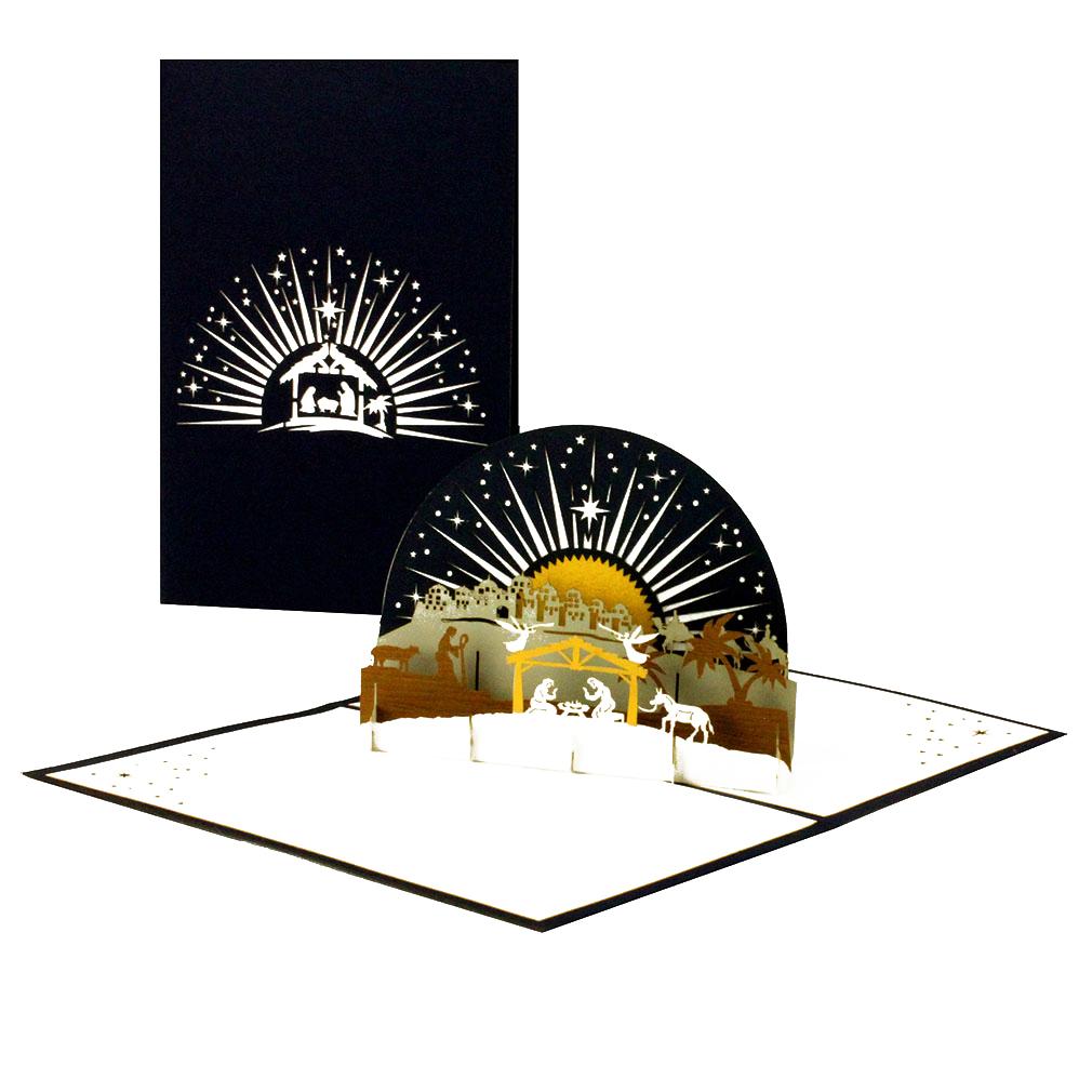 """3D Karte """"Krippe mit Stern"""" - christliche Weihnachtskarte mit Umschlag"""