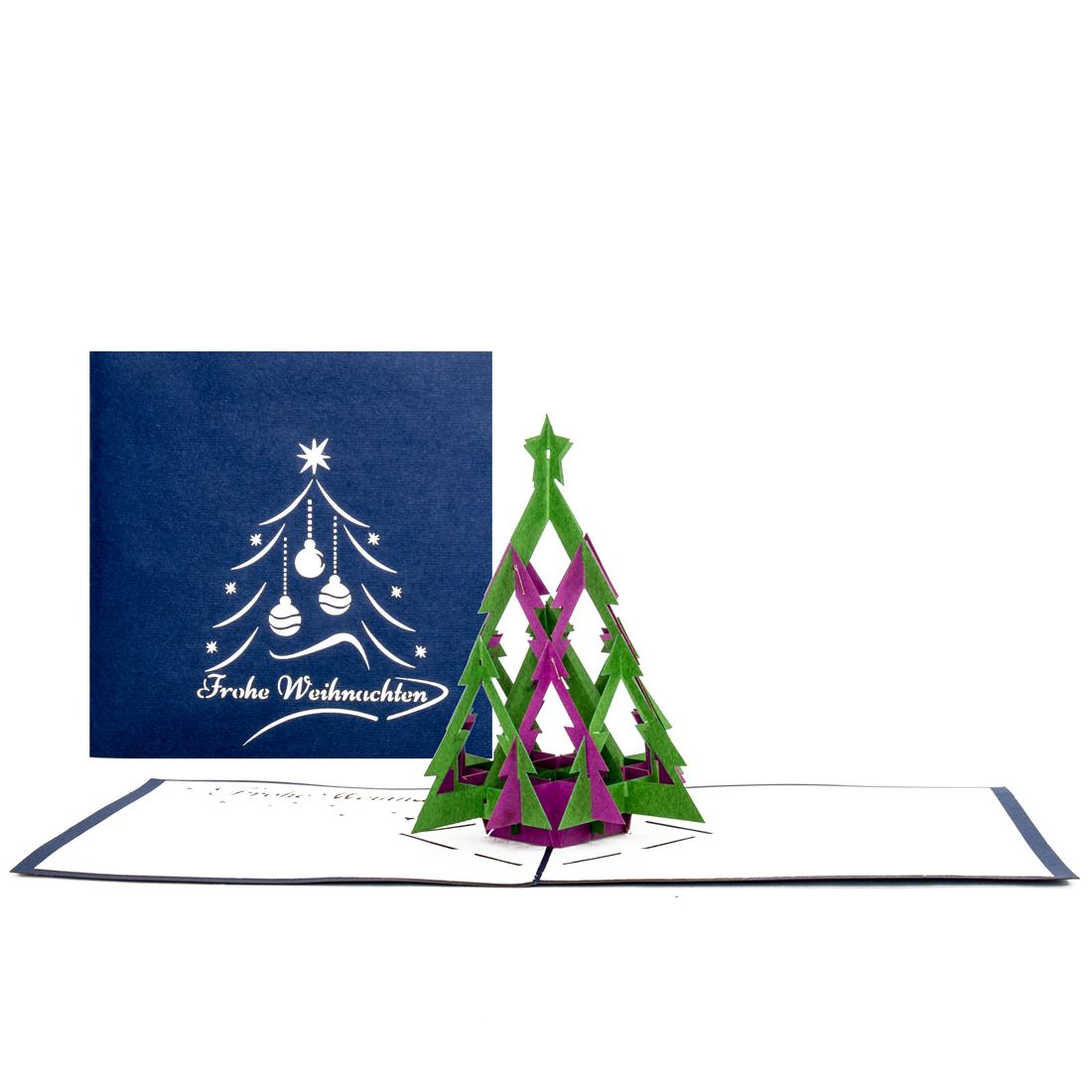 Pop Up Karte zu Weihnachten - Weihnachtskarte mit 3D Tannenbaum