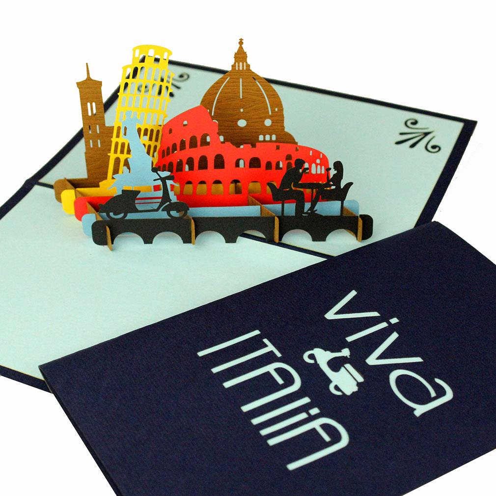 """Pop Up Karte """"Italien"""" - Glückwunschkarte, Reisegutschein, Geldgeschenk für die Reisekasse"""