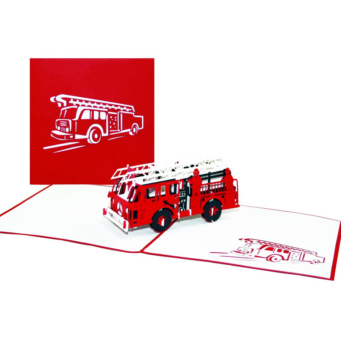"""Pop Up Karte """"Feuerwehr"""" - Glückwunschkarte mit 3D Löschzug, Geburtstagkarte"""