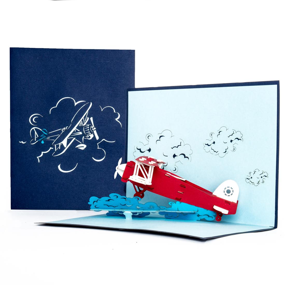 """Pop Up Karte """"Flugzeug"""" - Reisegutschein, Geschenkgutschein"""